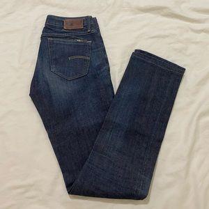 G-Star low waist straight leg jeans dark blue 25